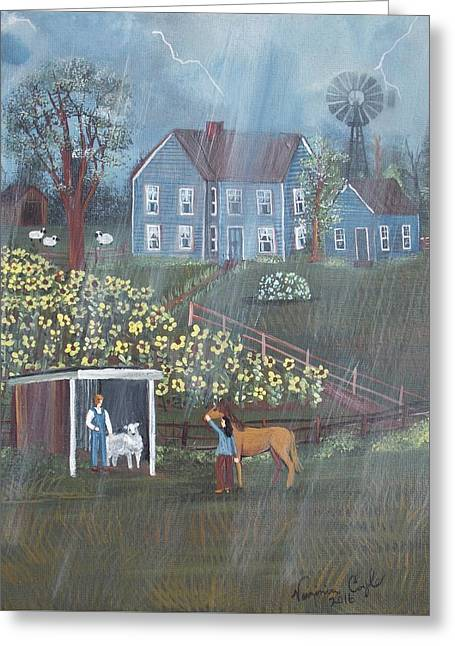 Summer Rain Greeting Card by Virginia Coyle