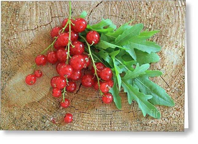 Summer, Red Berries And Rucola On Wooden Board Greeting Card