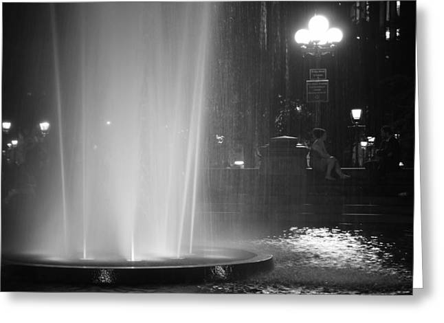 Washington Square Park Greeting Cards - Summer Romance - Washington Square Park Fountain at Night Greeting Card by Vivienne Gucwa