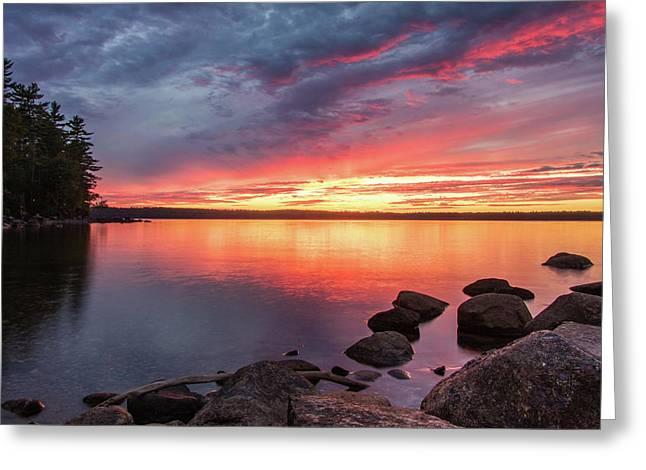Summer Sets Over Sebago Lake, Maine Greeting Card