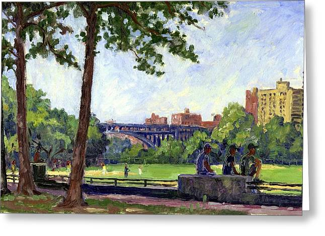 Summer Shade Baseball Fields At Inwood Nyc 8x12 Plein Air Impressionist Oil On Panel Greeting Card by Thor Wickstrom