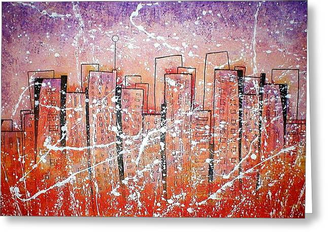 Summer Squall Cityscape Greeting Card