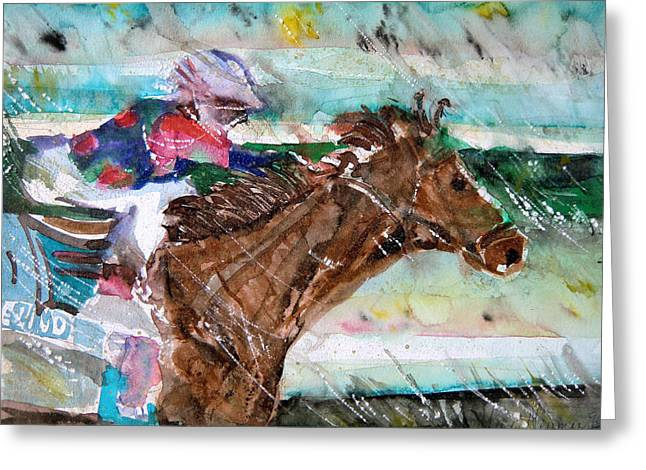 Summer Squall Horse Racing Greeting Card