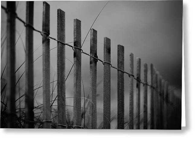 Summer Storm Beach Fence Mono Greeting Card