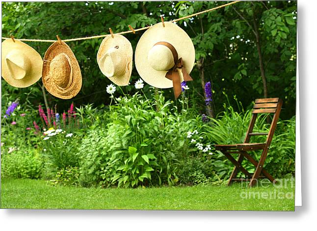 Summer Straw Hats Hanging On Clothesline Greeting Card by Sandra Cunningham