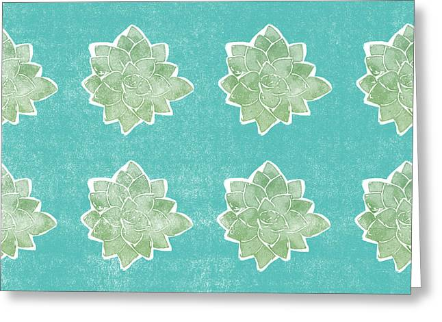 Summer Succulents- Art By Linda Woods Greeting Card by Linda Woods