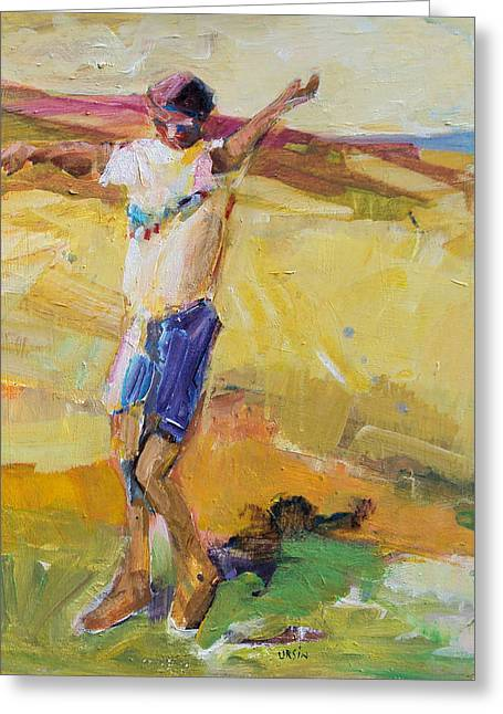 Greeting Card featuring the painting Summer Sun Dance   by Diane Ursin