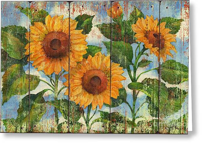 Summer Sunflowers Distressed Greeting Card