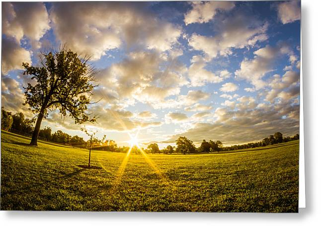 Greeting Card featuring the photograph Summer Sunrise Across Delware Park Meadow by Chris Bordeleau