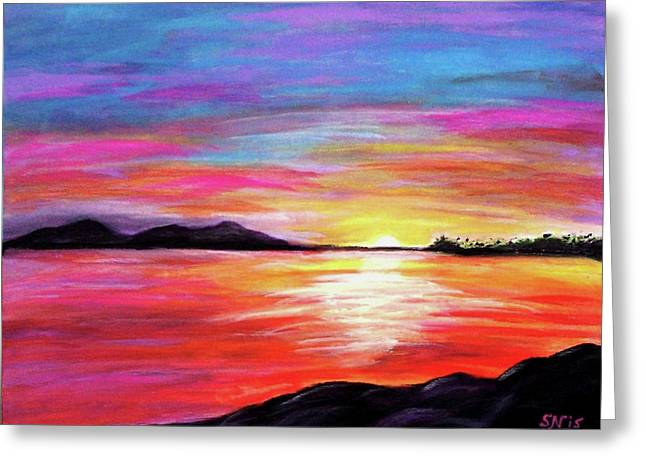 Greeting Card featuring the painting Summer Sunrise by Sonya Nancy Capling-Bacle