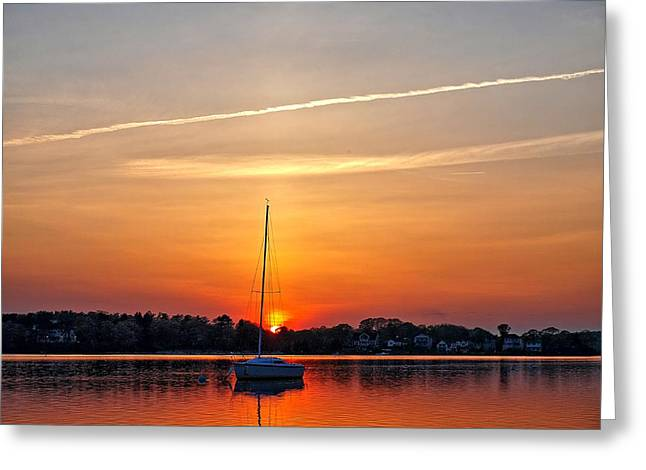 Summer Sunset At Anchor Greeting Card
