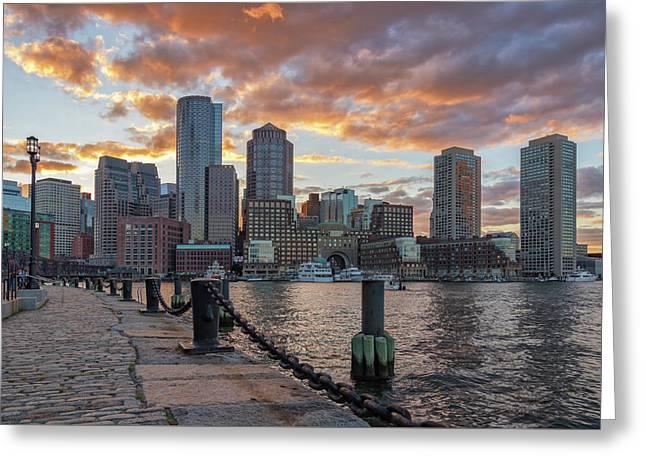 Summer Sunset At Boston's Fan Pier Greeting Card