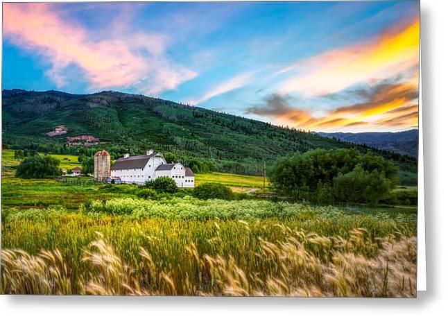 Summer Sunset At Park City Barn Greeting Card