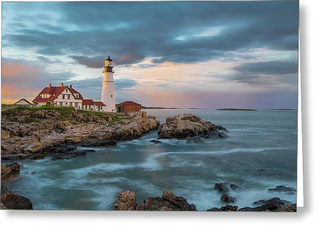 Summer Sunset At Portland Head Light Greeting Card