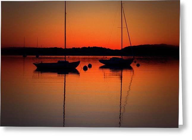 Summer Sunset Calm Anchor Greeting Card