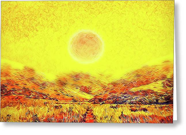 Greeting Card featuring the digital art Summer Sunset Field - Trail In Marin California by Joel Bruce Wallach