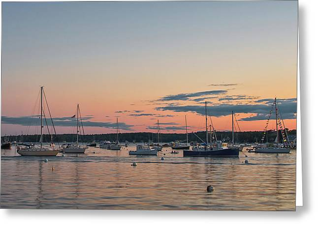 Summer Sunset In Boothbay Harbor Greeting Card