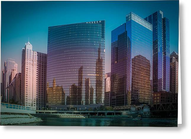 Summer Sunset In Chicago Downtown  Greeting Card