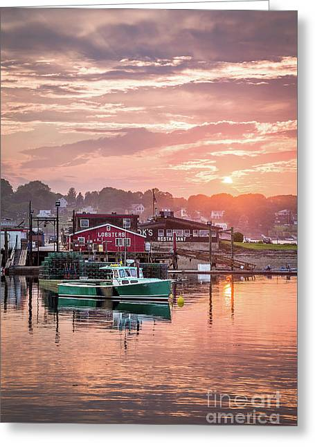 Summer Sunset Over Cook's Lobster Greeting Card by Benjamin Williamson