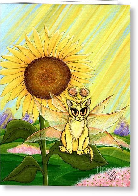 Summer Sunshine Fairy Cat Greeting Card