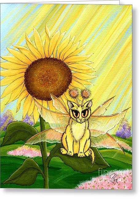 Summer Sunshine Fairy Cat Greeting Card by Carrie Hawks