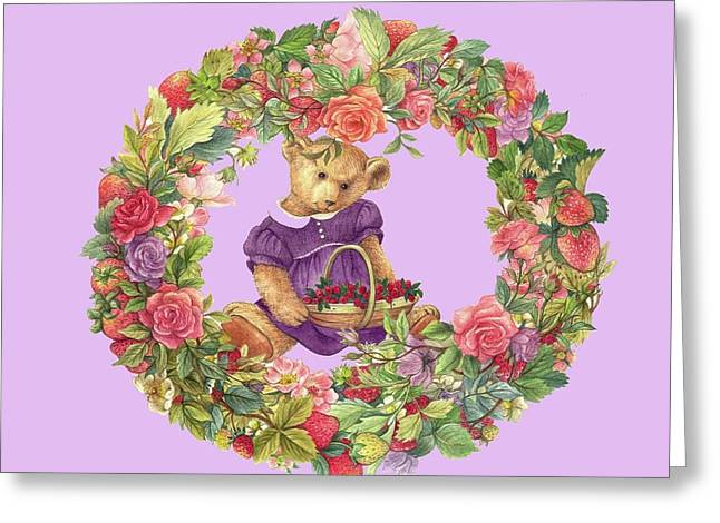 Greeting Card featuring the painting Summer Teddy Bear With Roses by Judith Cheng