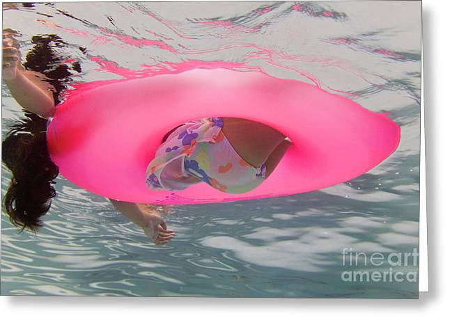Floating Girl Greeting Cards - Summer Time Greeting Card by Juan  Silva