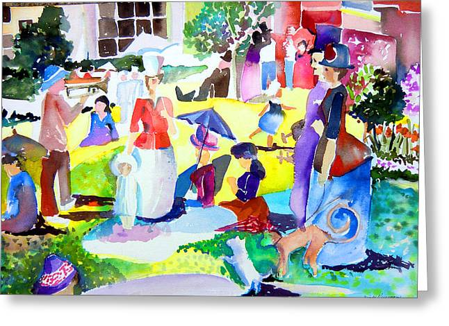 Summer With In The Park With George Greeting Card by Mindy Newman