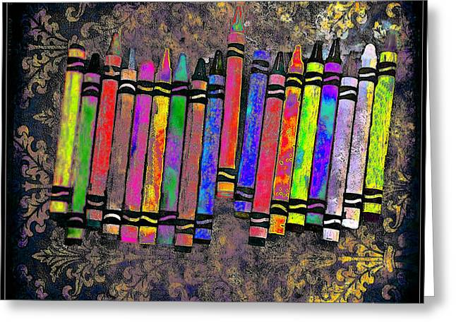 Greeting Card featuring the digital art Summer's Crayon Love by Iowan Stone-Flowers