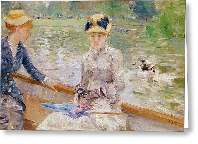 Boats On Water Greeting Cards - Summers Day Greeting Card by Berthe Morisot