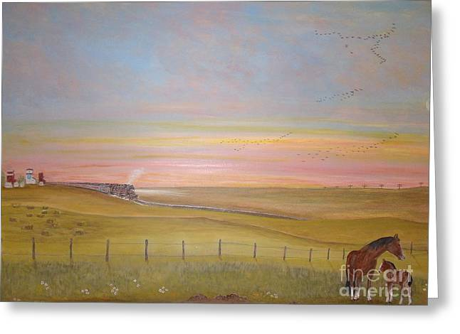 Summer's Prairie Sunset Greeting Card