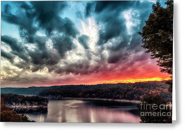 Summersville Lake Autumn Dawn Greeting Card by Thomas R Fletcher