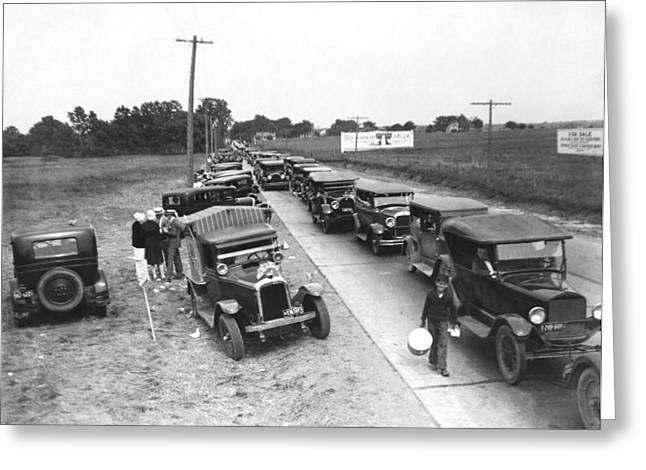 Summertime Country Traffic Jam Greeting Card by Underwood Archives