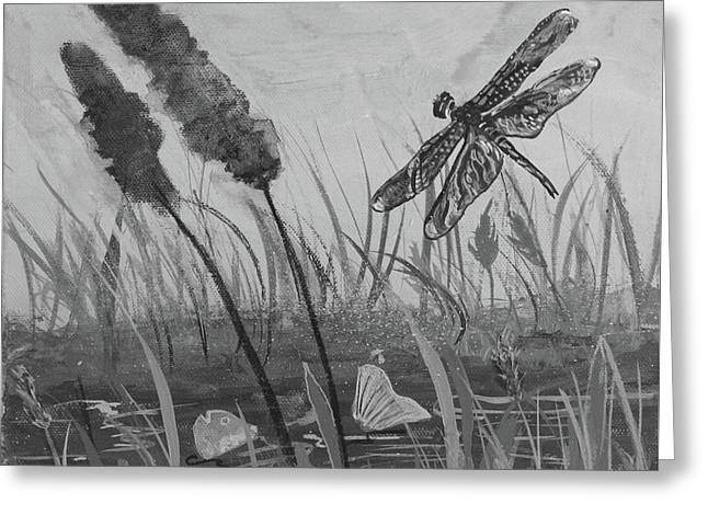 Greeting Card featuring the painting Summertime Dragonfly Black And White by Robin Maria Pedrero