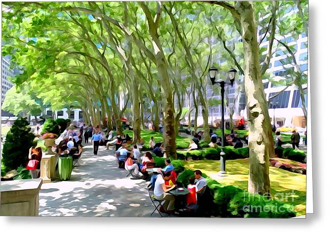 Summertime In Bryant Park Greeting Card