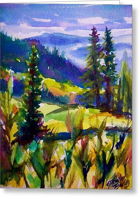 Summertime View From Nelson Sold Original Prints Available Greeting Card by Therese Fowler-Bailey