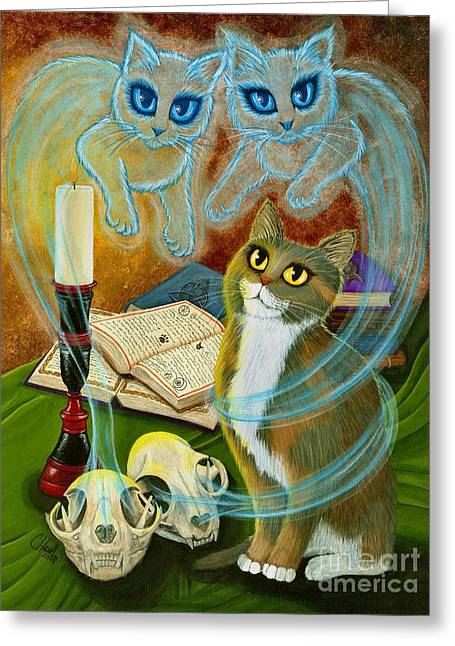 Summoning Old Friends - Ghost Cats Magic Greeting Card