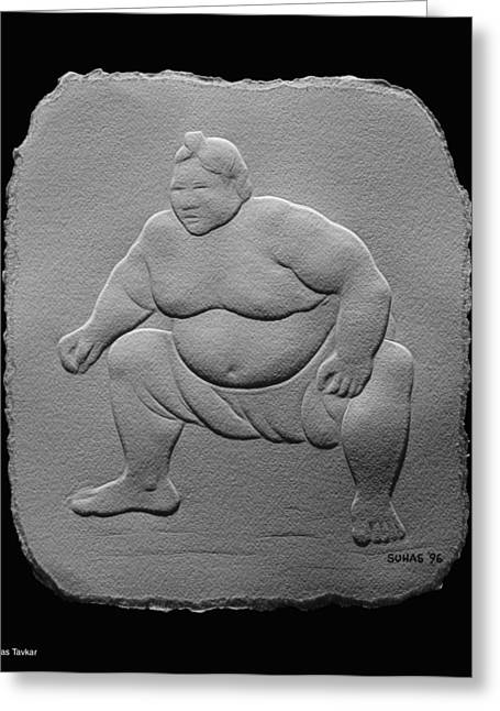 Greeting Card featuring the relief Sumo by Suhas Tavkar