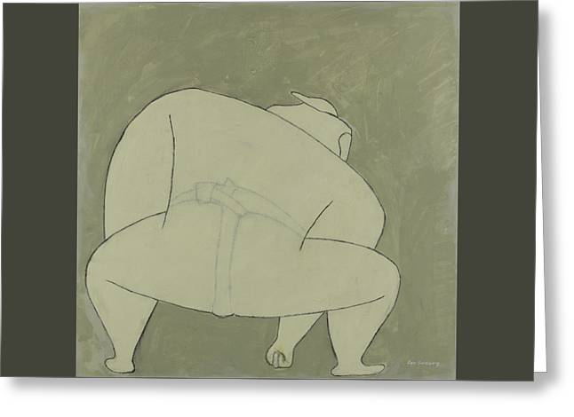 Greeting Card featuring the painting Sumo Wrestler by Ben Gertsberg