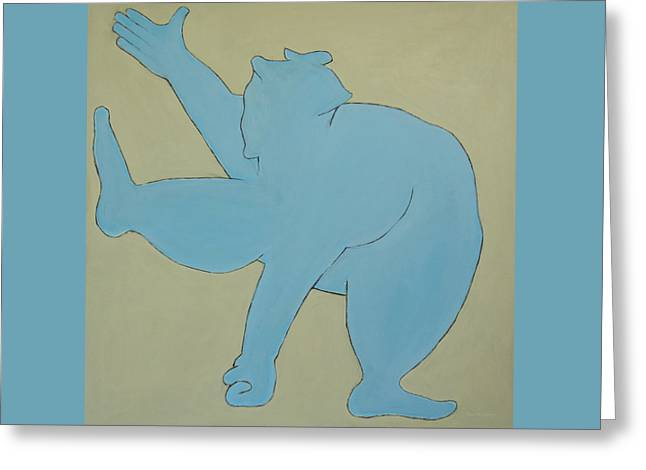 Greeting Card featuring the painting Sumo Wrestler In Blue by Ben Gertsberg