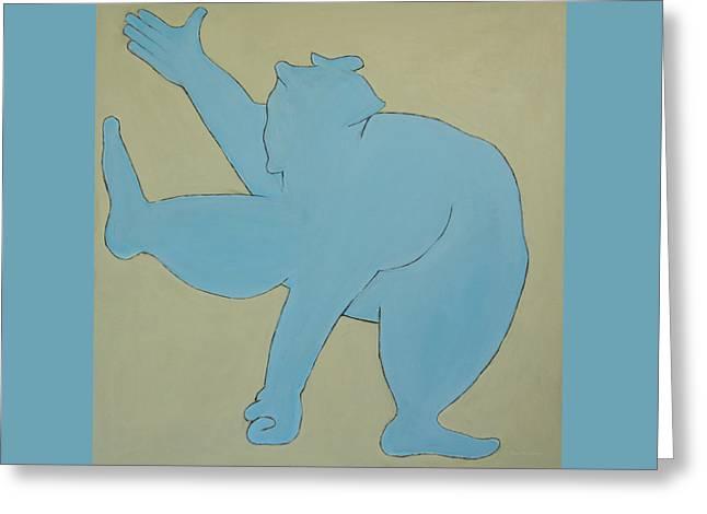 Sumo Wrestler In Blue Greeting Card by Ben Gertsberg