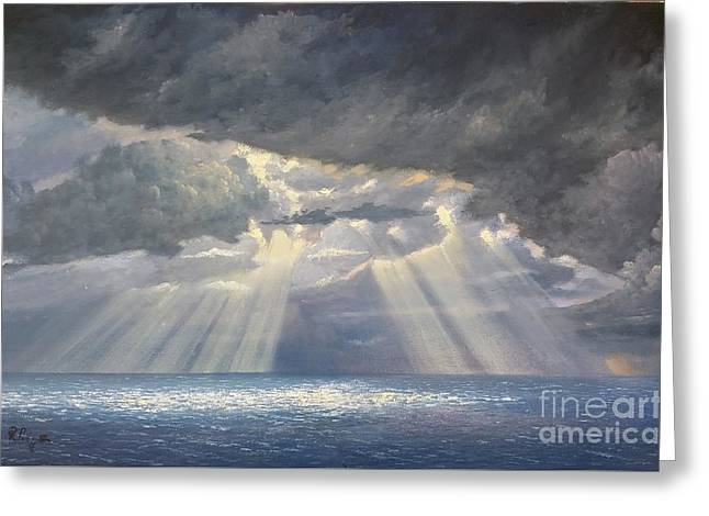 Greeting Card featuring the painting Storm Subsides by Rosario Piazza