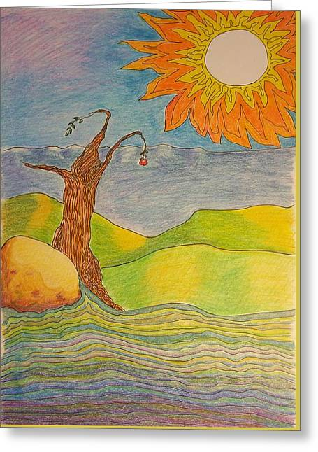 Sun And Apple Tree Greeting Card