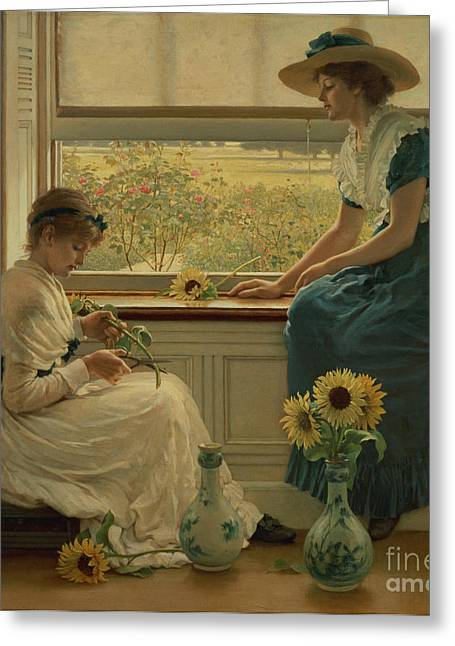Sentiment Greeting Cards - Sun and Moon Flowers Greeting Card by George Dunlop Leslie