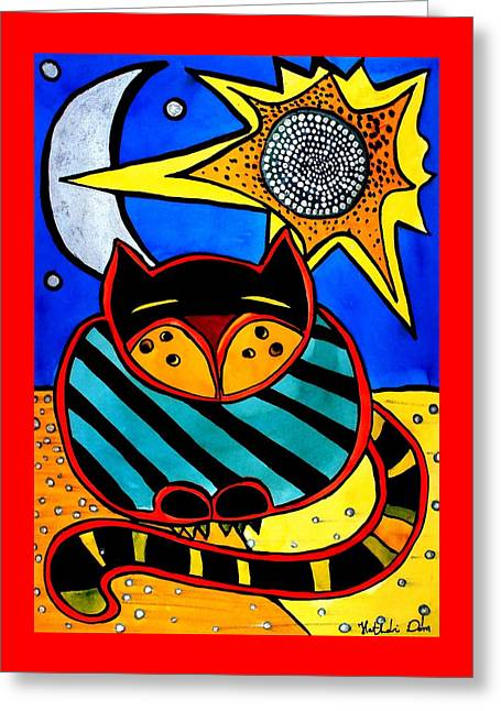 Sun And Moon - Honourable Cat - Art By Dora Hathazi Mendes Greeting Card
