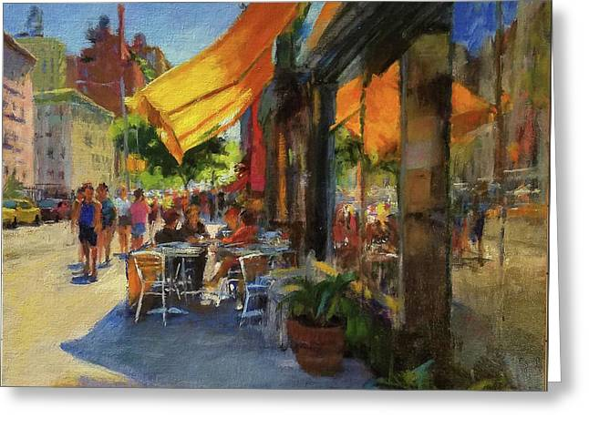 Sun And Shade On Amsterdam Avenue Greeting Card by Peter Salwen