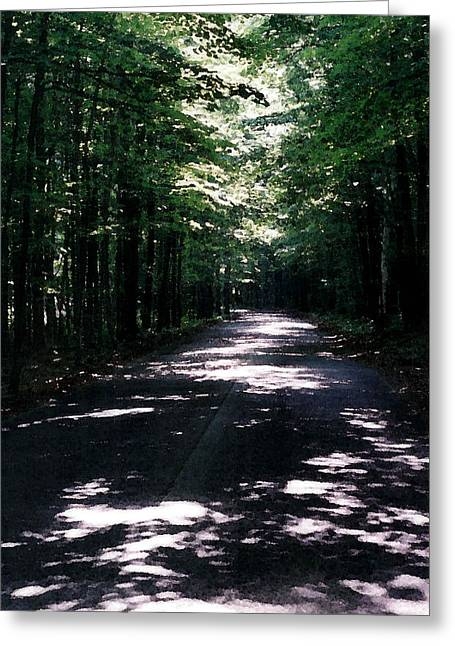Greeting Card featuring the photograph Sun And Shadow Road In Summer Imp Wc by Lyle Crump