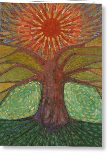 Sun And Tree Greeting Card by Wojtek Kowalski