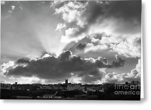 Greeting Card featuring the photograph Sun Beams Over Church by Nicholas Burningham