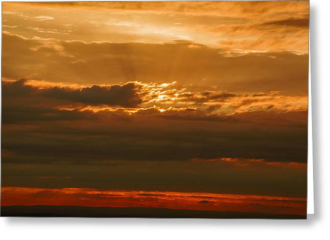 Sun Behind Dark Clouds In Vogelsberg Greeting Card